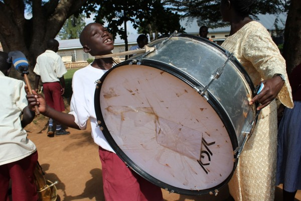 The marching band made up of sight impaired pupils from the Madera School for the Blind in Uganda