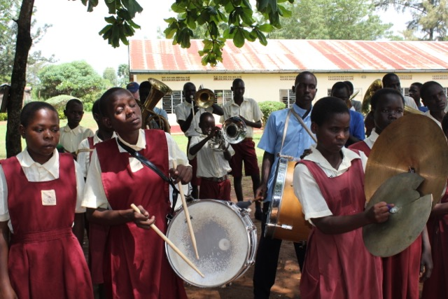Visually impaired children from the St Francis Madera School For the Blind in Soroti, Uganda play music together in a marching band