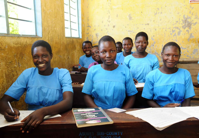 Students from the Akolodong primary school in Uganda where Drop in the Bucket recently drilled a well.