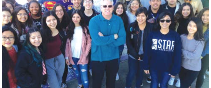 students from Norwalk High with teacher Dean Gray at the schools annual Giving Charity to Charities event.