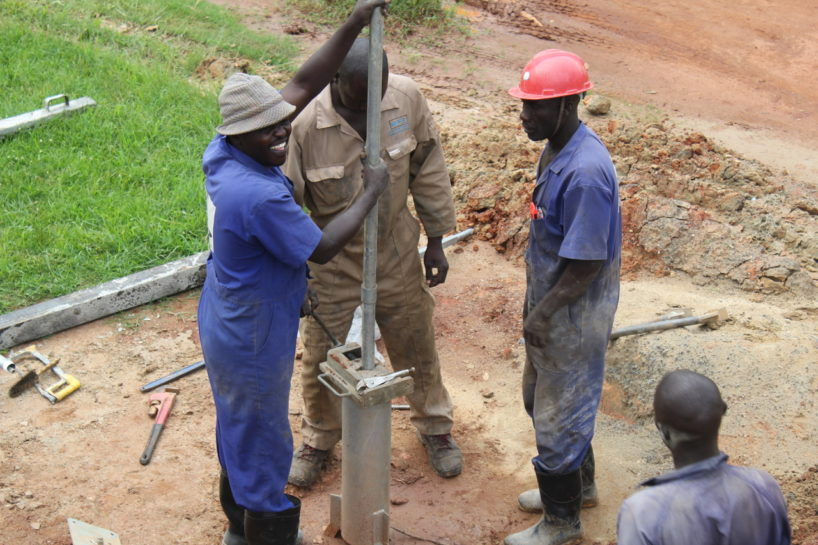 Drop in the Bucket water well drilling in Uganda showing the importance of world water week