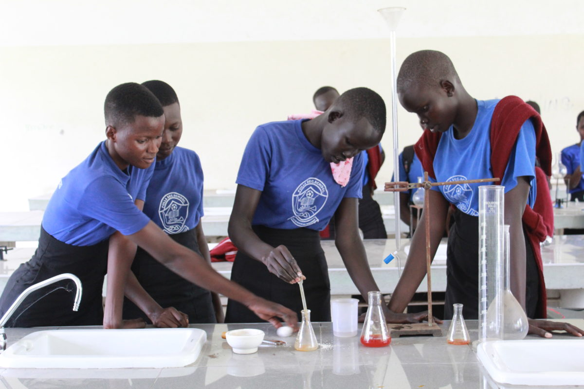 Female students in from the Girl Education in South Sudan program run by Drop in the Bucket